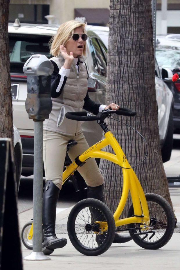 Selma Blair - Rides her special walking bike at Alfred Coffee in LA