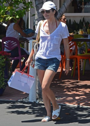 Selma Blair in Jeans Shorts Shopping in West Hollywood