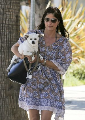 Selma Blair with her dog out in Studio City
