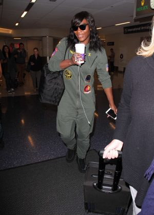 Serena Williams at LAX Airport in Los Angeles