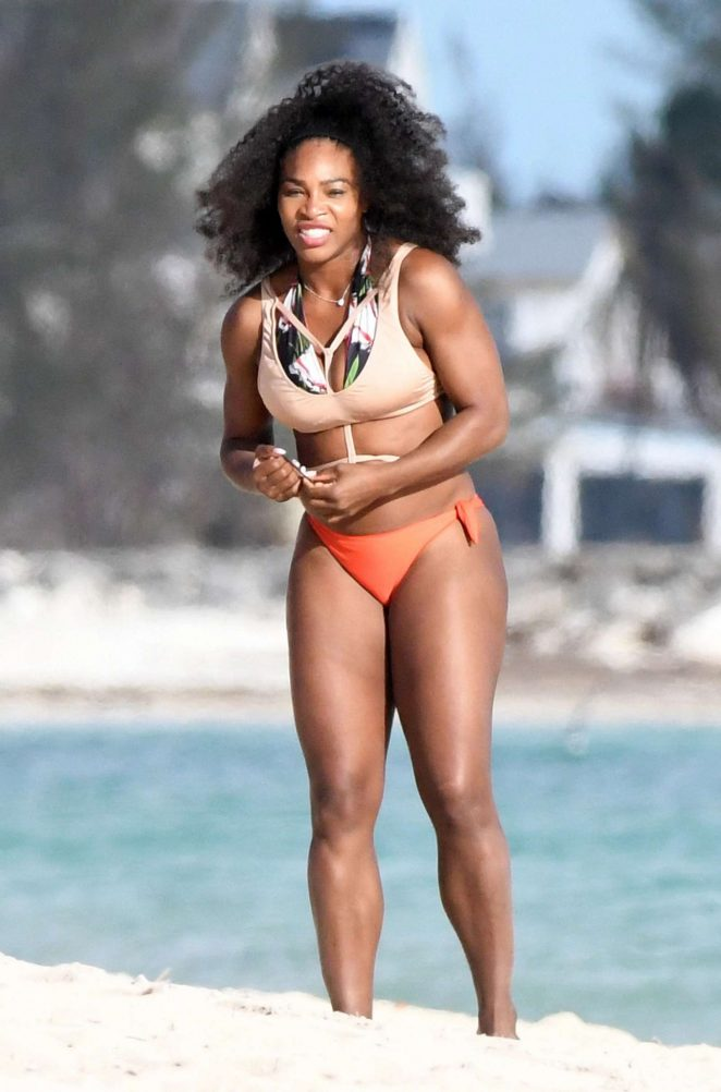 Serena Williams in Bikini on the beach in Bahamas