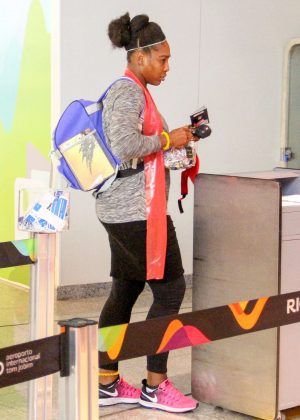 Serena Williams in Tights return home from Rio