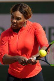 Serena Williams - Practises at Roland Garros French Open Tournament in Paris