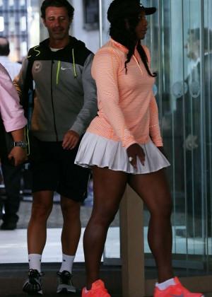 Serena Williams - Wearing Mini Skirt While leaving Crown Perth