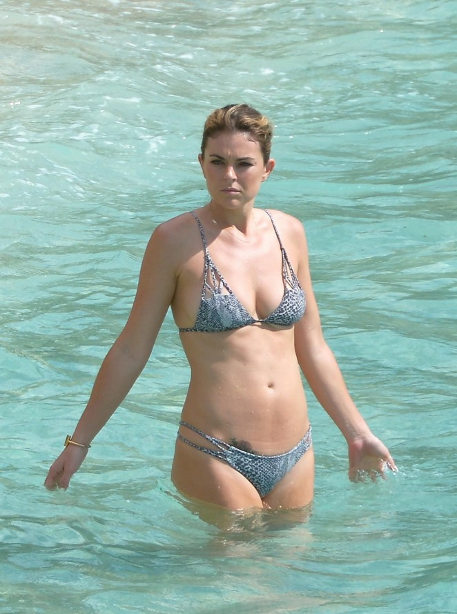 Serinda Swan – Wearing a bikini at a beach in St. Barts