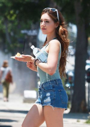Shae Brock in Jeans Shorts on the set of 'Delinquents' in LA