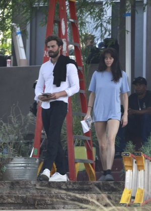 Shailene Woodley and Jamie Dornan - On the set of the new movie in LA
