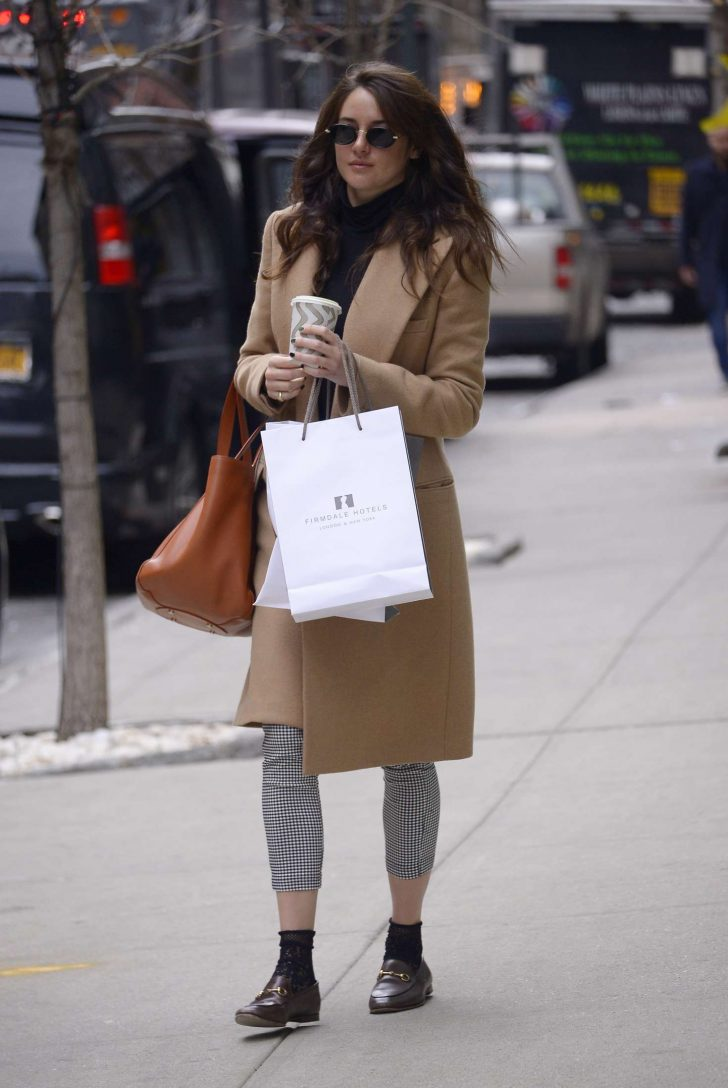 Shailene Woodley in Brown Coat - Out in New York