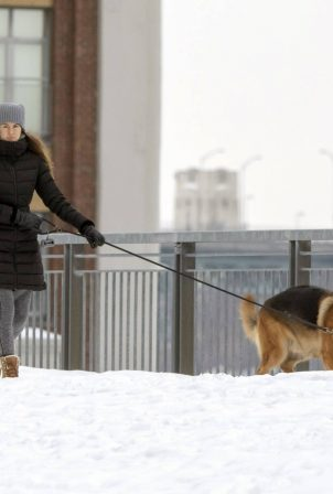 Shailene Woodley - Is spotted walking her dog in Montreal