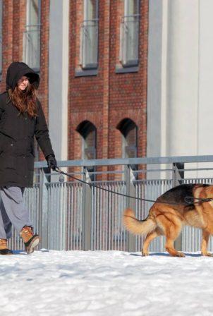Shailene Woodley - Walking her dog in snowy Montreal