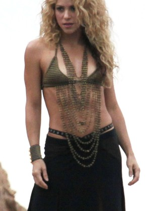 Shakira - Filming a commercial on the beach in Catalonia