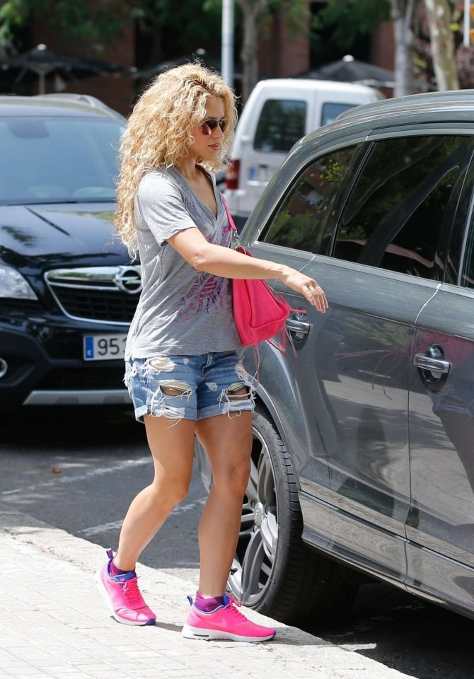 Shakira in Jeans Shorts - Out in Barcelona