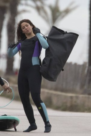 Shakira - Pictured at a surfing lesson on the beach in Barcelona