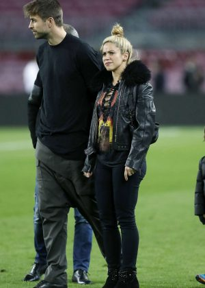 Shakira with her husband Gerard Pique at Camp Nou stadium in Barcelona