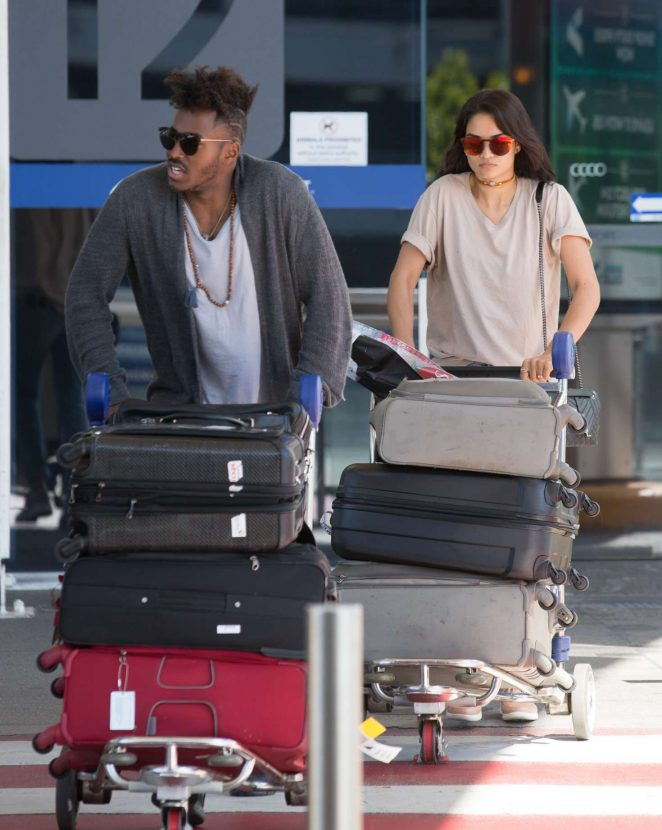 Shanina Shaik and her fiance DJ Ruckus at Airport in Melbourne