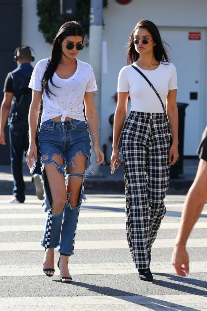 Shanina Shaik and Nicole Williams Filming at Avenue in Los Angeles