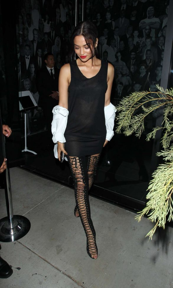 Shanina Shaik - In black mini dress leaving The Catch in West Hollywood