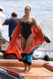 Shanina Shaik - In black swimsuit at Nammos Psarou Beach in Mykonos