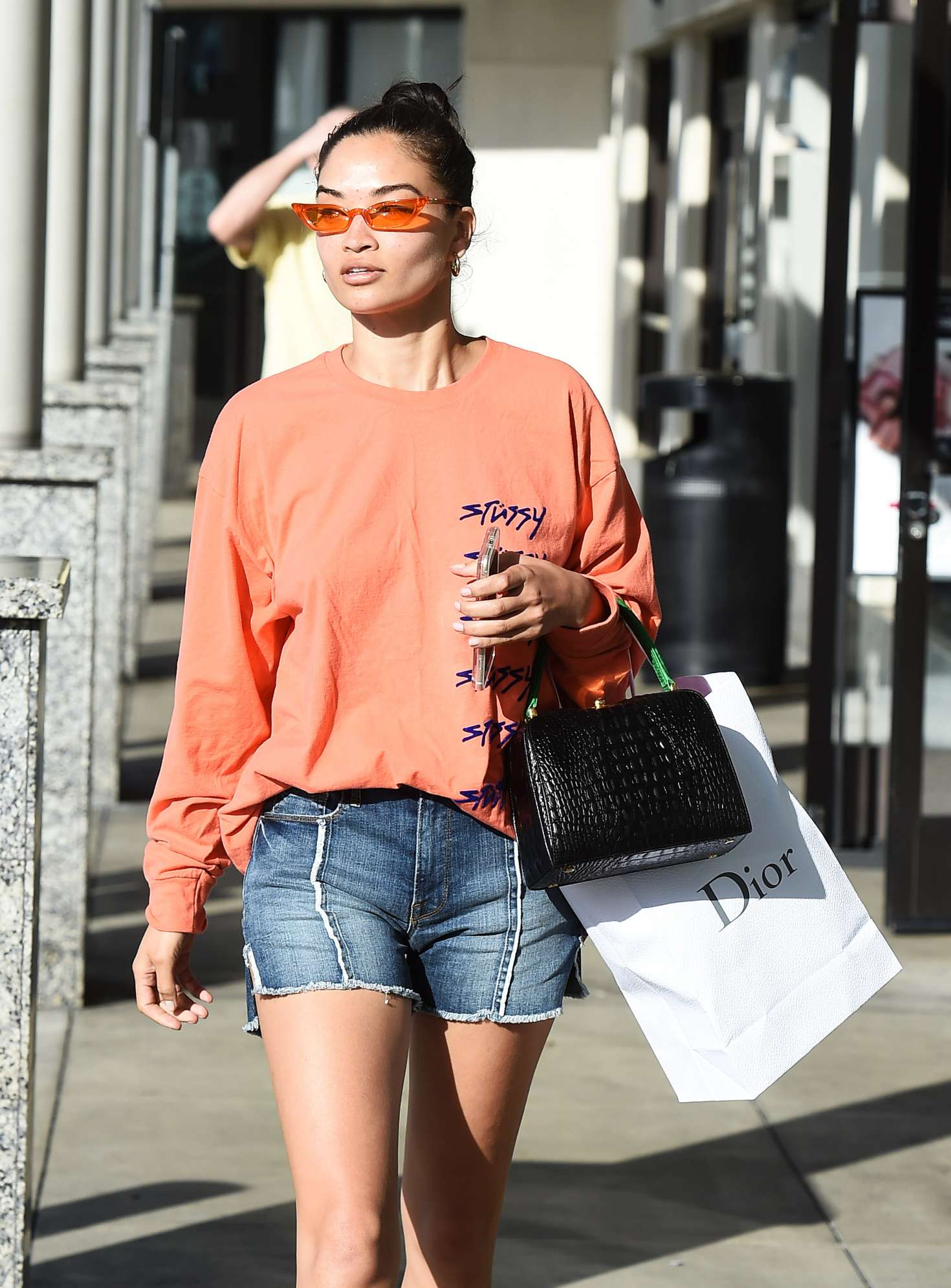Shanina Shaik in Jeans Shorts out in Los Angeles