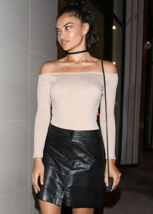 Shanina Shaik in Leather Skirt at Catch LA in West Hollywood