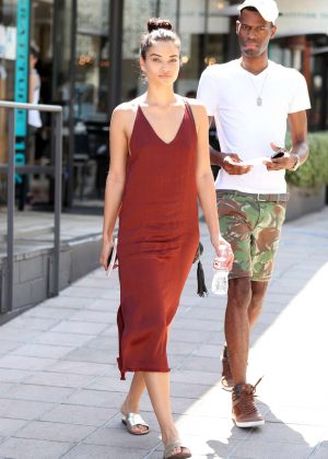 Shanina Shaik in Red Dress out in Los Angeles