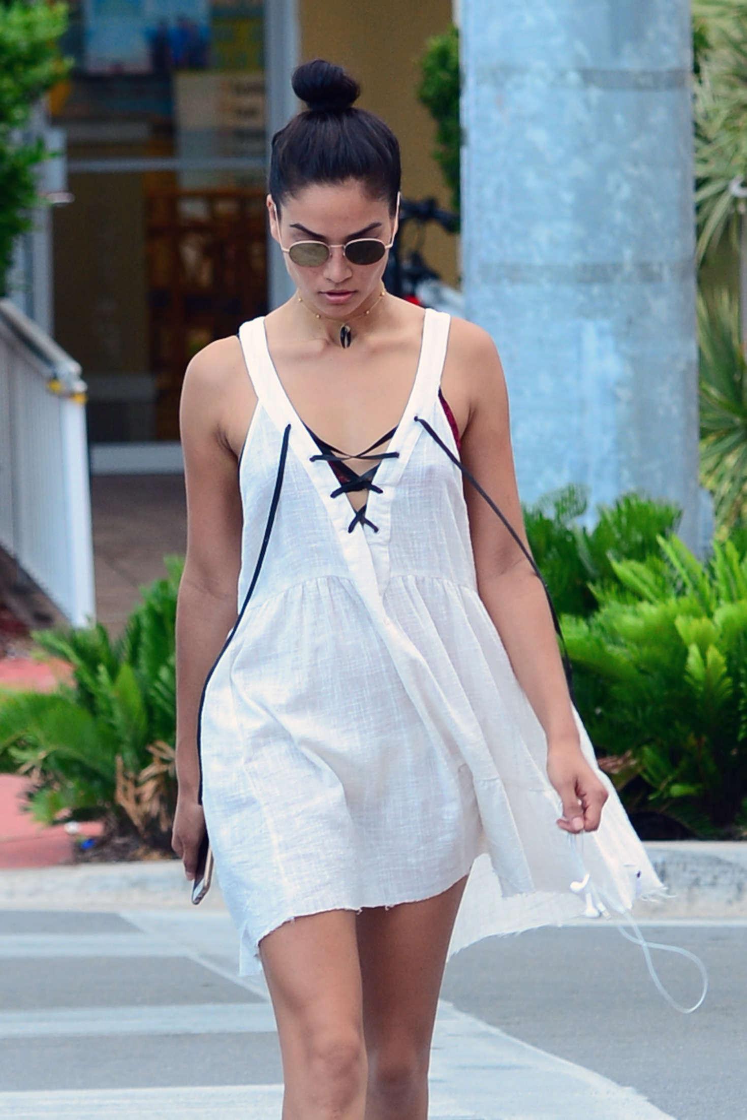 Shanina Shaik in Short Dress out in Miami Beach