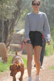 Shanina Shaik in Shorts - Walking her dog on holiday in Ibiza