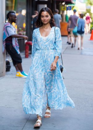 Shanina Shaik in Summer Dress Out in New York City