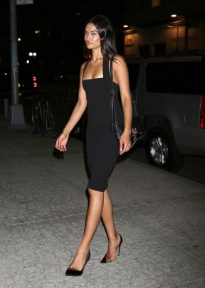 Shanina Shaik in Tight Dress out in NYC