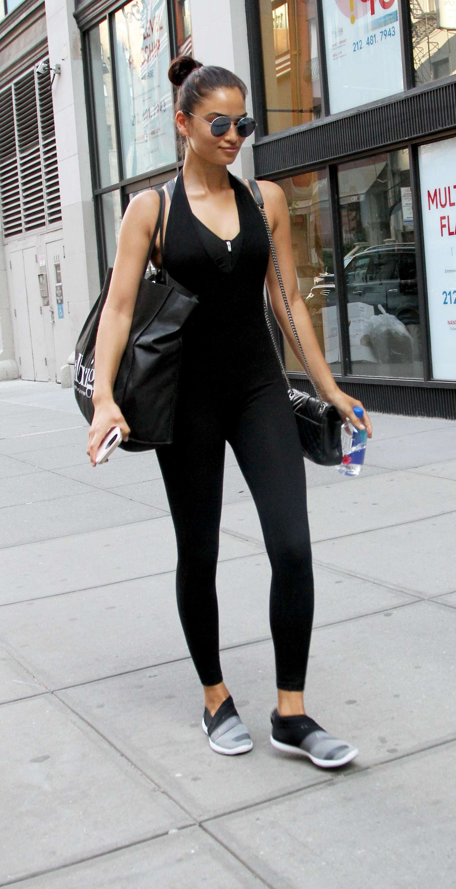 Shanina Shaik in Tights out in New York City