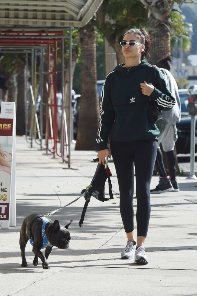 Shanina Shaik in Tights - Walking her dog Choppa in Los Angeles