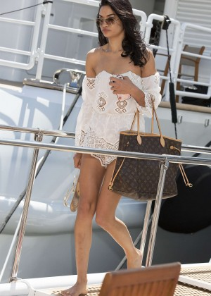 Shanina Shaik - Leaving a Yacht in Cannes