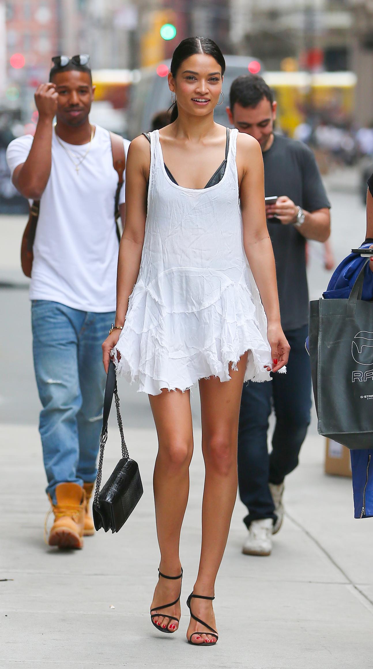 Shanina Shaik in Mini Dress Out in NYC