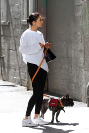 Shanina Shaik - Walking her dog in Los Angeles
