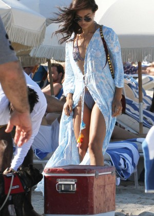 Shanina Shaik With Boyfriend DJ Ruckus on The Beach in Miami