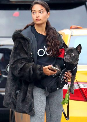 Shanina Shaik with her dog out in New York City