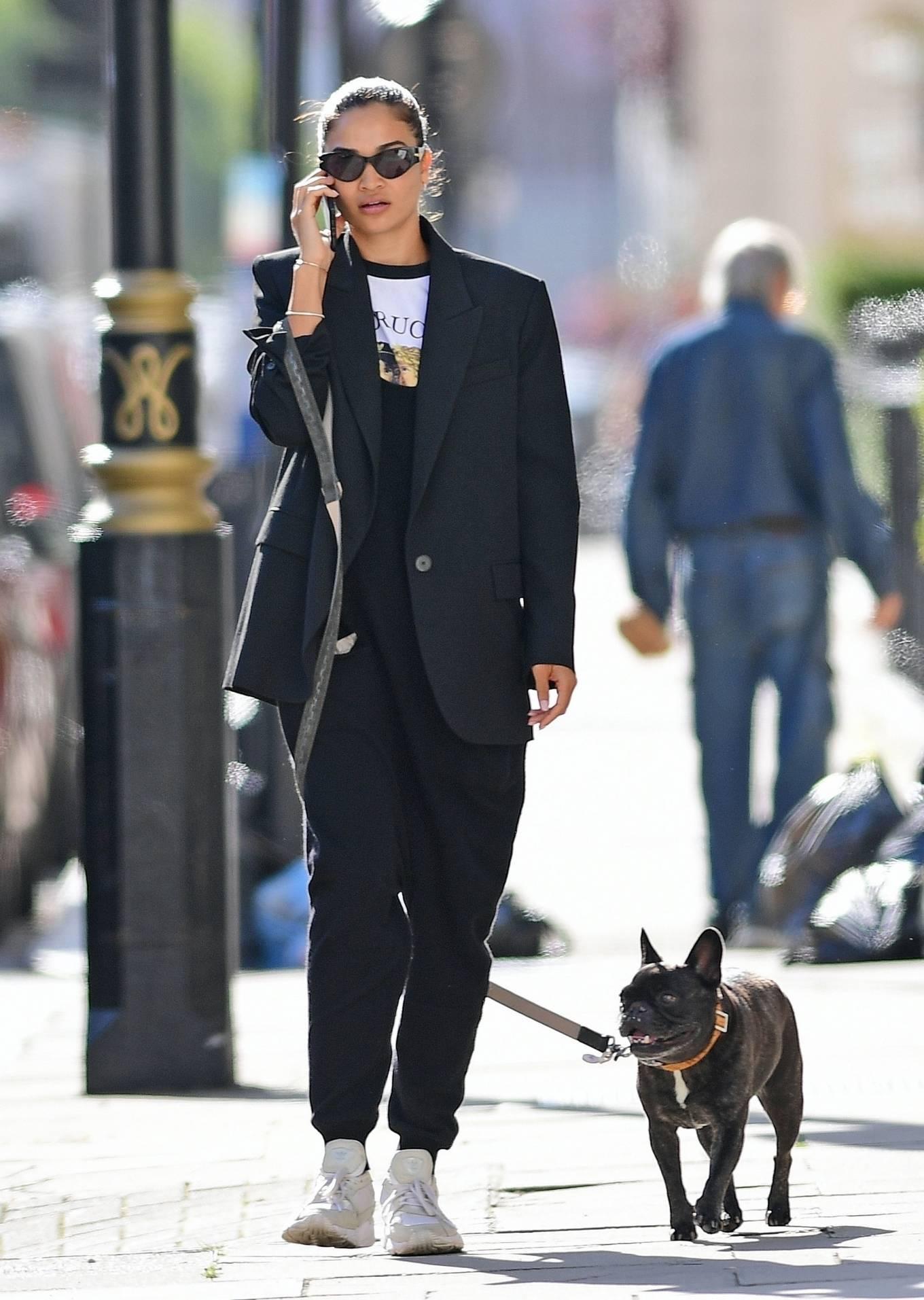 Shanina Shaik - With her french bulldog in London
