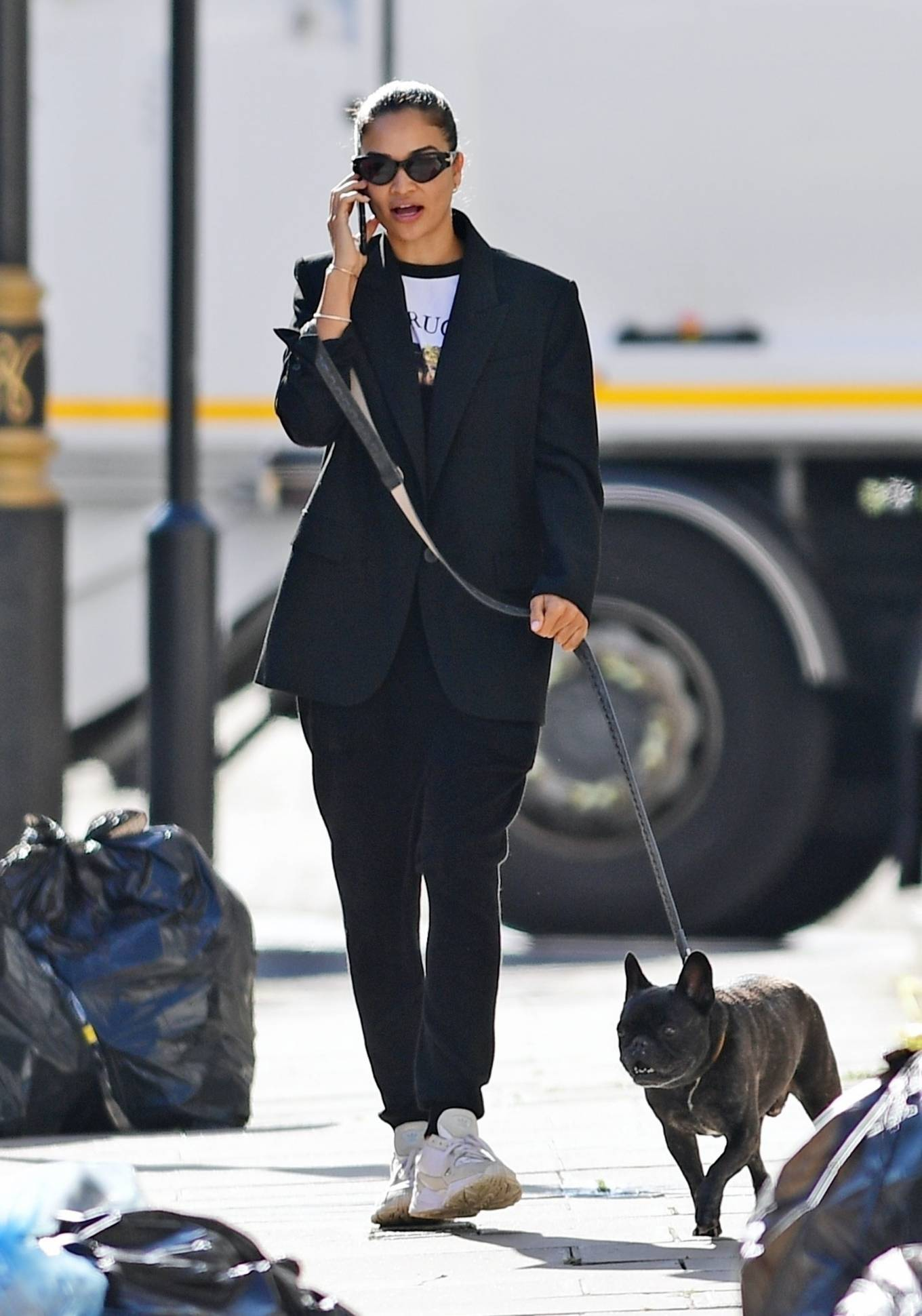 Shanina Shaik 2020 : Shanina Shaik – With her french bulldog in London-15
