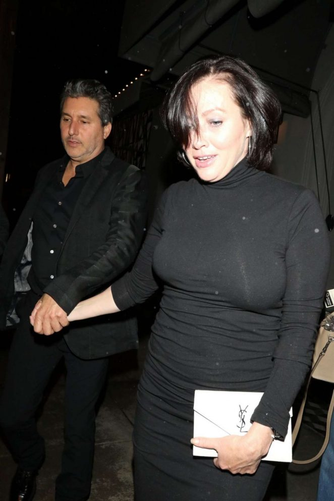 Shannen Doherty in Black Dress at Gracias Madre in West Hollywood