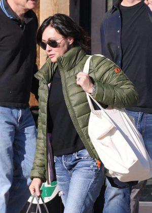 Shannen Doherty in Green Jacket - Shopping in Malibu