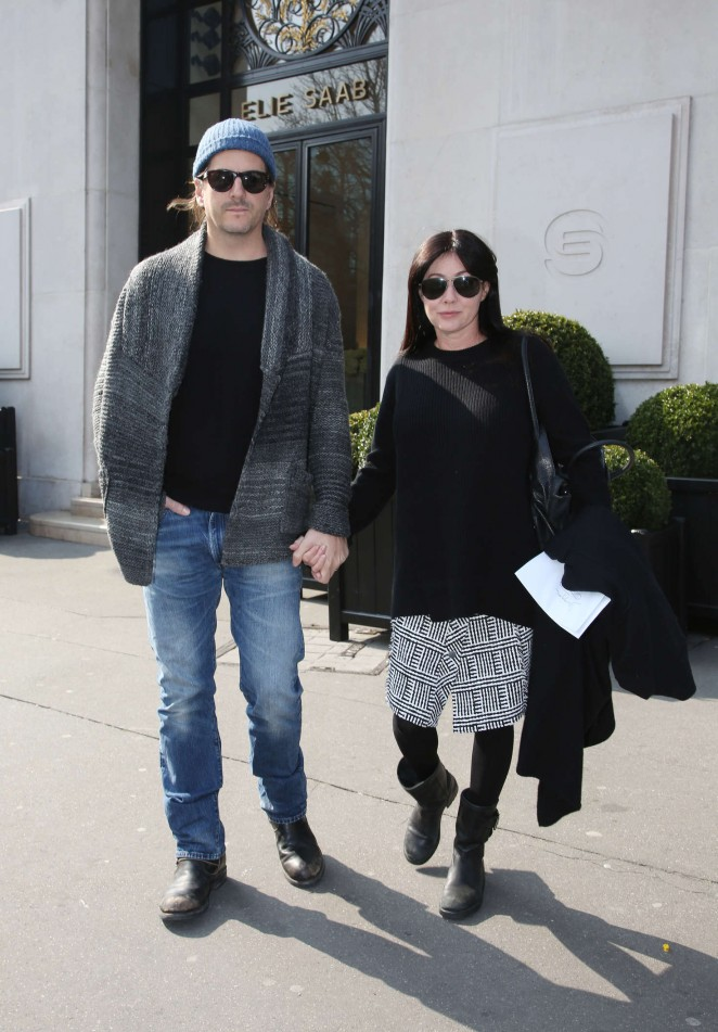 Shannen Doherty with her boyfriend out in Paris