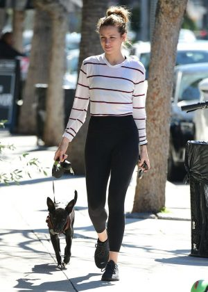 Shantel VanSanten with her dog out in Los Angeles