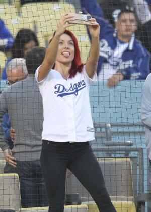 Sharna Burgess at Dodger Stadium in Los Angeles