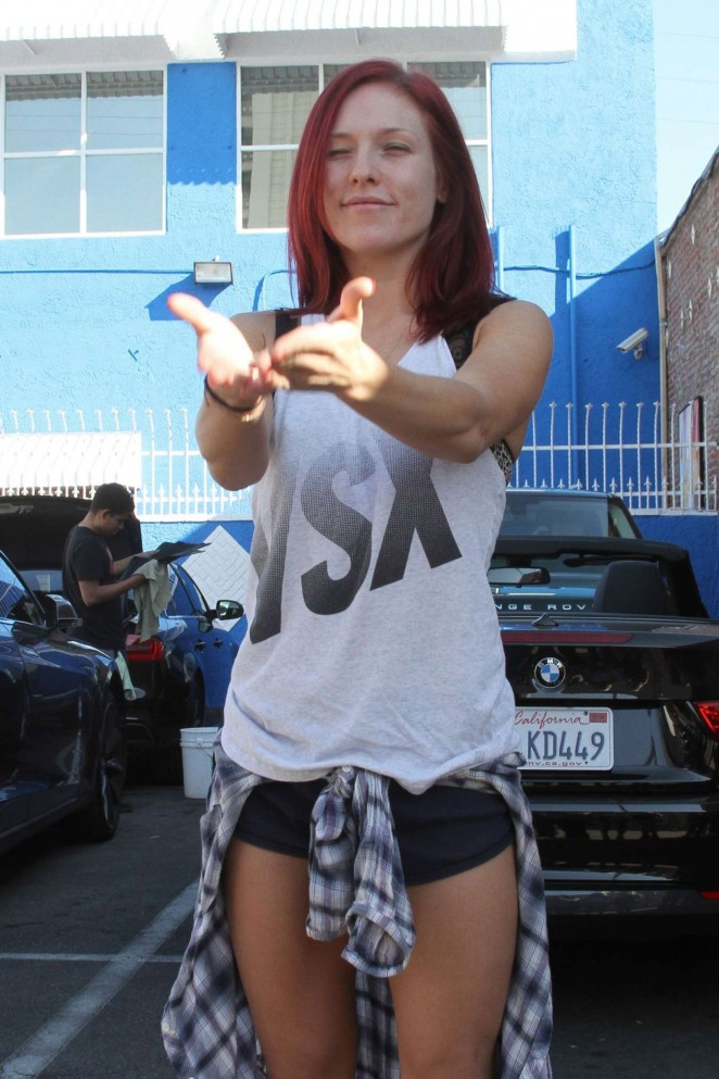Sharna Burgess in Shorts at the DWTS Studio in Hollywood
