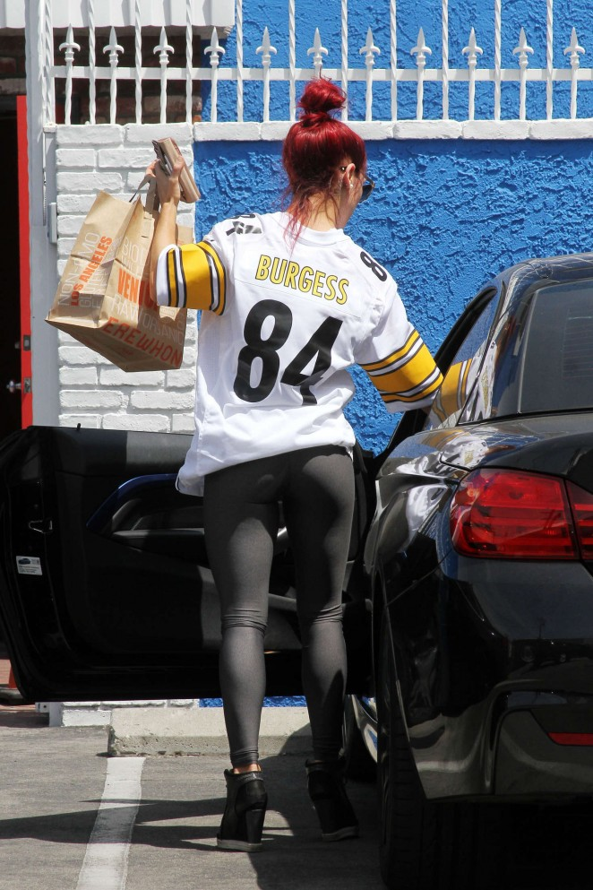 Sharna Burgess in Tights at DWTS Studio in Hollywood