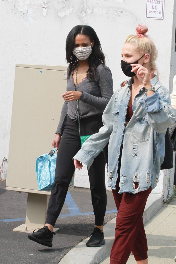 Sharna Burgess with Britt Stewart - Leaving the DWTS studio in Los Angeles