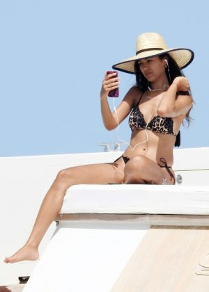 Sharon Fonseca in Bikini on the boat in Formentera