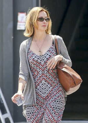 Sharon Lawrence in long dress shopping in Los Angeles