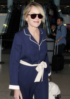 Sharon Stone - Arrives at the Los Angeles International Airport