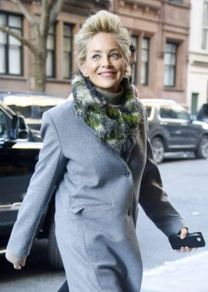 Sharon Stone - Arriving at her hotel in New York City